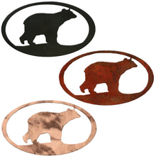 Bear Oval Rustic Southwestern Metal Wall Art