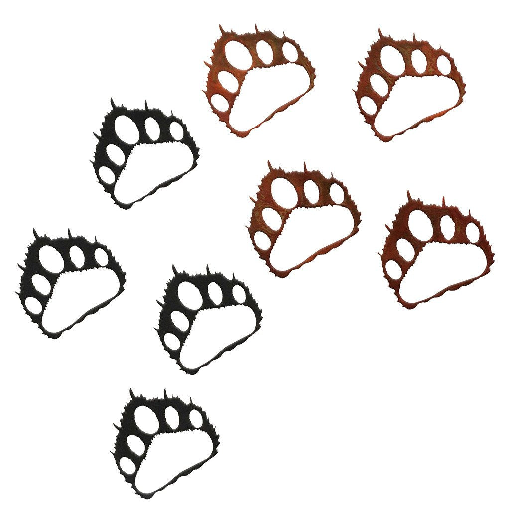 Bear Paw Prints Rustic Southwestern Metal Wall Art