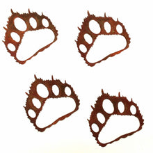 Bear Paw Prints -set of four-natural rust patina-metal decor-#7055inc
