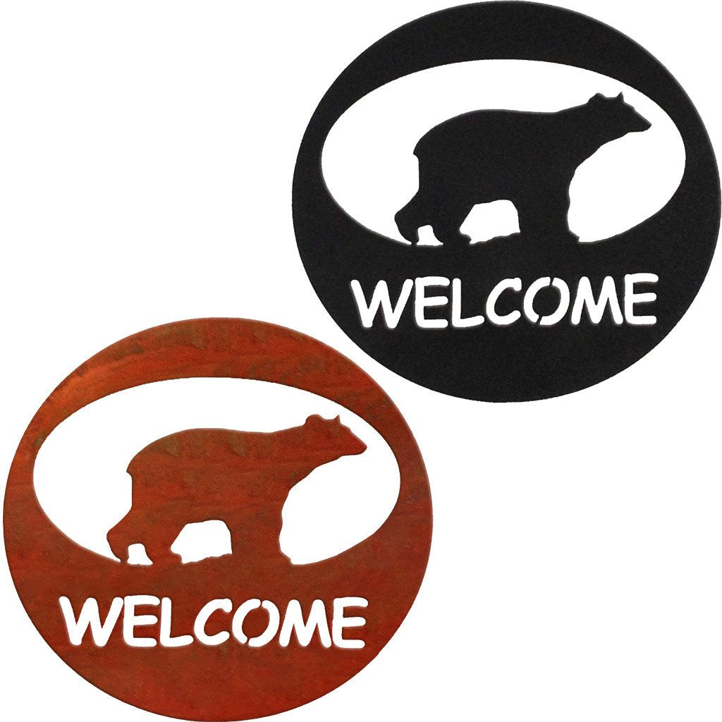 Bear Welcome Circle Rustic Southwestern Metal Wall Art