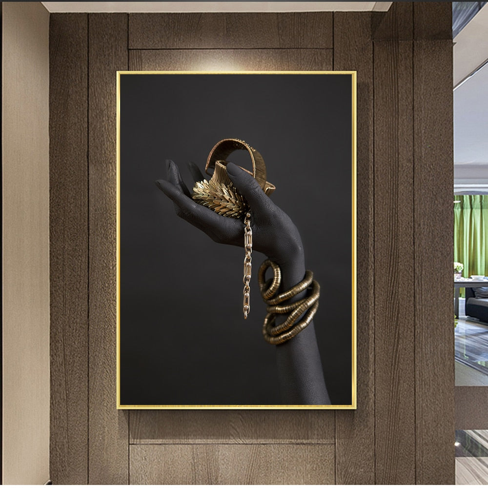 Black Woman's Hand With Gold Jewelry Canvas Print