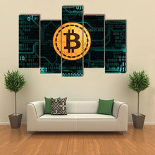 Symbol Currency Bitcoin Canvas Print 5 Pieces