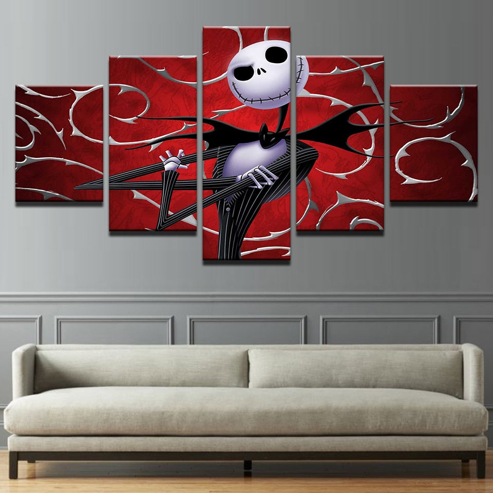 Hallowmas Jack Skellington Nightmare Before Christmas Canvas Print 5 Pieces