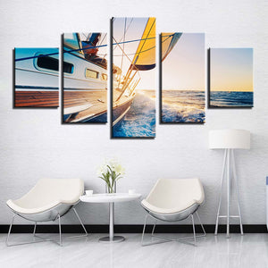 Fishing on Yacht Canvas Print 5 Pieces