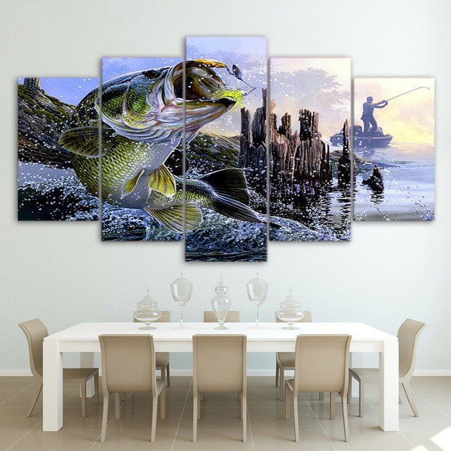 Jumping Big Bass Fishing 5 piece Wall Print - Limited Edition