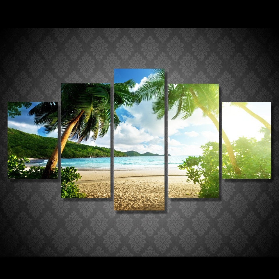 5 Pieces Beach Palm Tree Canvas Print
