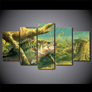 Lunker Bass in the Sticks Canvas 5 panel Wall Art