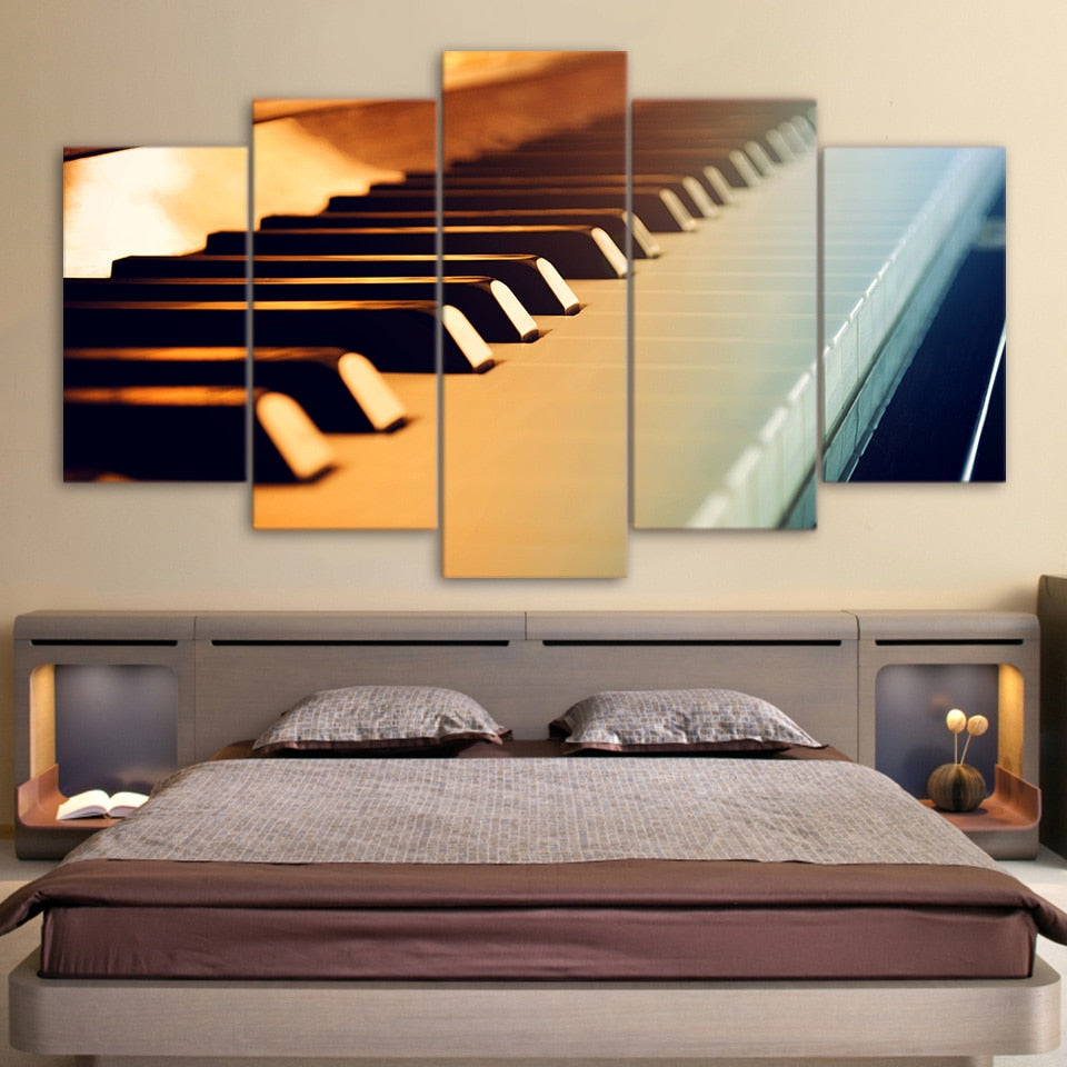 Piano Keys Musical Instrument Canvas Print 5 Pieces