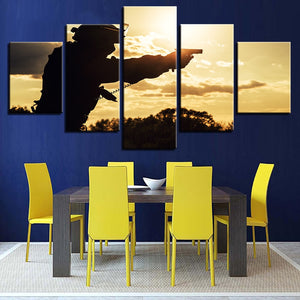 Sunset Military Soldiers Canvas Print 5 Piece