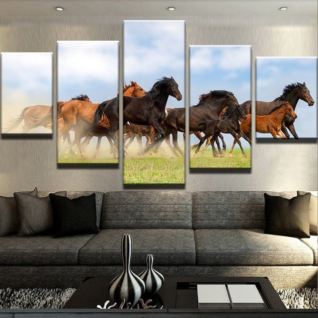 Wild Horses on the Prairie 5 piece Canvas Wall Print - Limited Edition