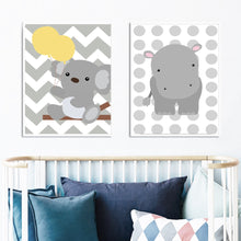 Cartoon Baby Bear Elephant Hippo Wall Art Canvas Print