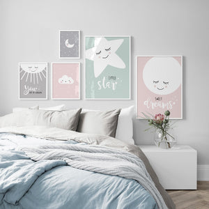 Cartoon Clouds Moon Stars Nordic Poster Wall Art Canvas Print