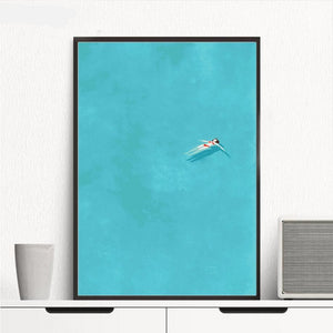 Cartoon Girl Swimming and Blue Watercolor Pop Art Canvas Print