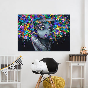 Beautiful Girl Graffiti Canvas Print 5 Pieces