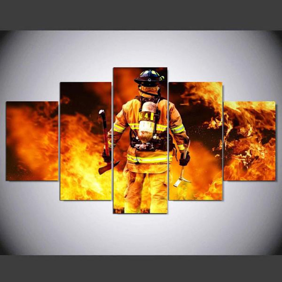 Fire Fighter Canvas Print 5 Piece
