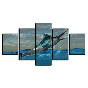 Sea Blue Gunfish Canvas Print 5 Pieces