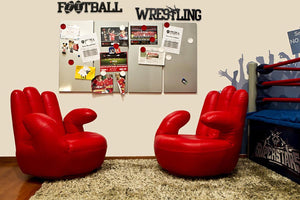 Wrestling and Football word in room