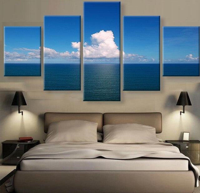 Clouds over Calm Seas 5 panel Canvas Wall Art Print - Limited Edition