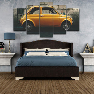 Yellow Old Vintage Car Canvas Print 5 Pieces
