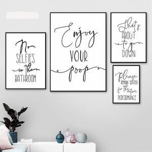 Funny Quotes Calligraphy Wall Art Canvas Print