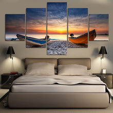 Fishing Boats on Beach at Sunset 5 piece HQ Canvas Wall Art Print - Limited Edition