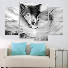 Wolves Snuggle Canvas Print 5 Pieces