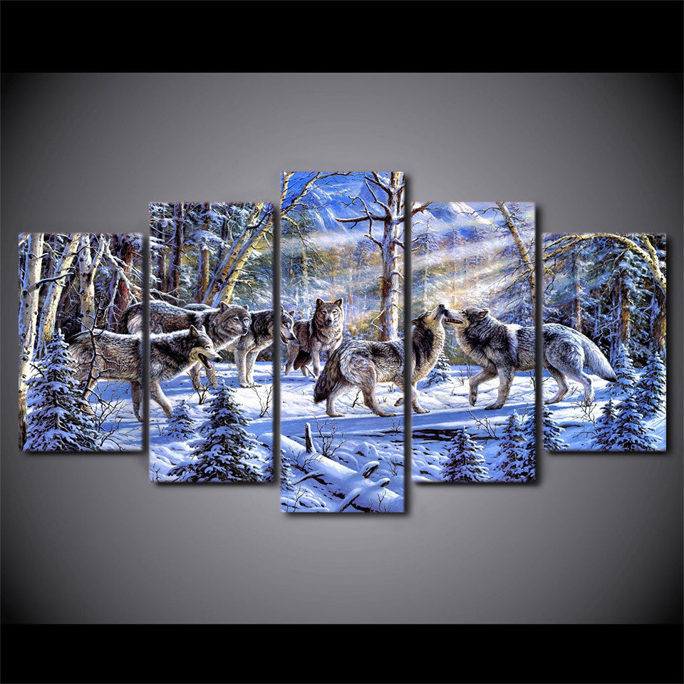 Timber Wolf In Snow Wolf Pack 5 Piece Hq Canvas Wall Art