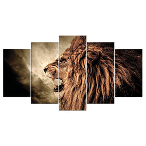 Howling Lion Canvas Print 5 Pieces
