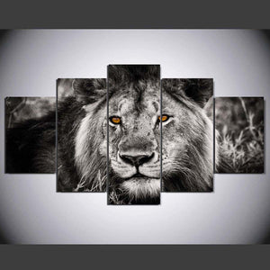 African Lion King of Beast Black and White Modern Art 5 piece Canvas Wall Art Print - Limited Edition