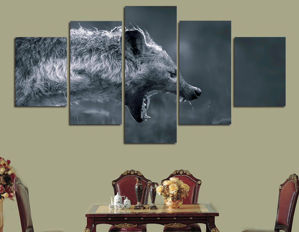 African Hyena Africa Predator Modern 5 piece Canvas Wall Print - Limited Edition