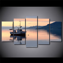 Fishing Trawler Boat at Sunset 5 piece Canvas Wall Art Print - Limited Edition