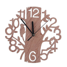 Hollow Tree Decoration Round Wooden Clock