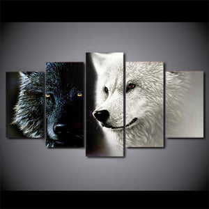 Black White Wolf Couple Canvas Print 5 Pieces