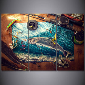 3 Pieces Fishing Rod Tuna Blue Ocean Canvas Print