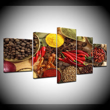 Grains Spices Peppers Canvas Print 5 Piece
