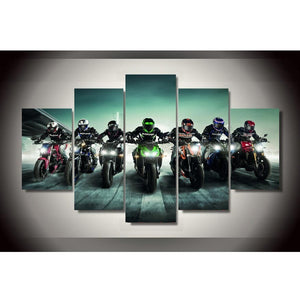 Motorcycle Race Canvas Print 5 Pieces