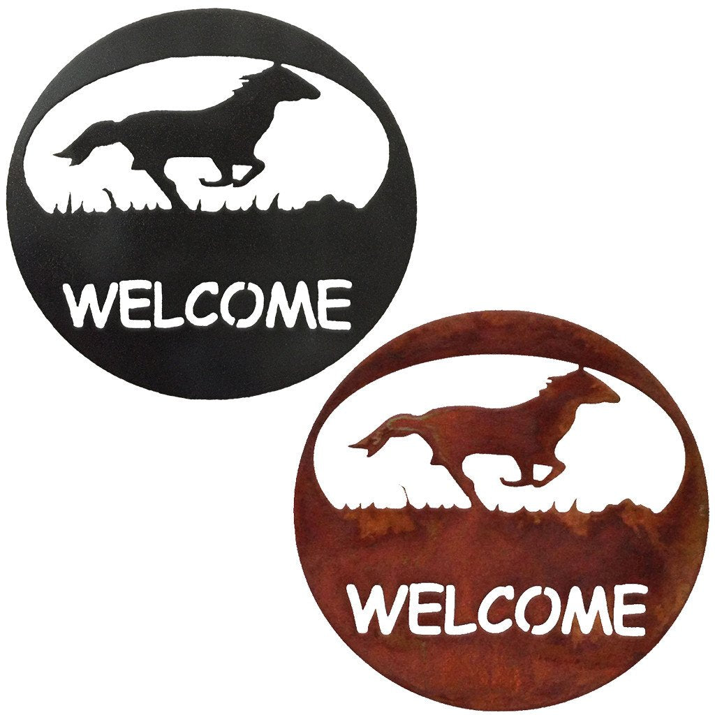 Horse Welcome Circle Rustic Southwestern Metal Wall Art