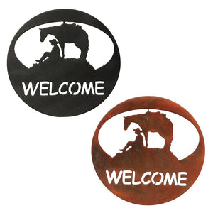 Horse & Cowboy Welcome Circle Rustic Southwestern Metal Wall Art