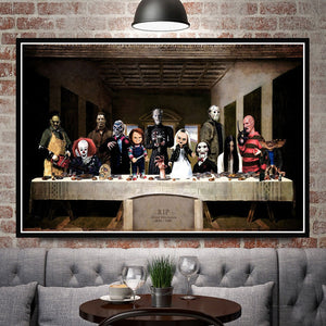 Halloween Horror Movie Character The Last Supper Canvas Print