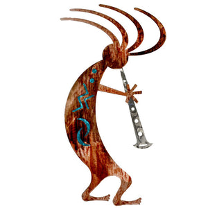Kokopelli Dancer - teal - metal wall art - #7055inc