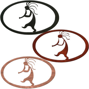 Kokopelli Oval Rustic Southwestern Metal Wall Art