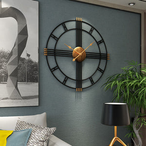 Large European Vintage Metal Wall Clock