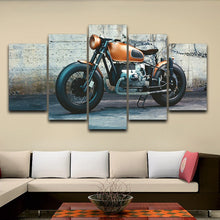 Vintage Motorcycle Canvas Print 5 Pieces