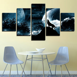 Wolf Howling in the Mountain Canvas Print 5 Piece