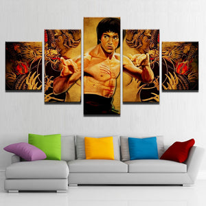 Kung Fu Superstar Bruce Lee Canvas Print 5 Pieces