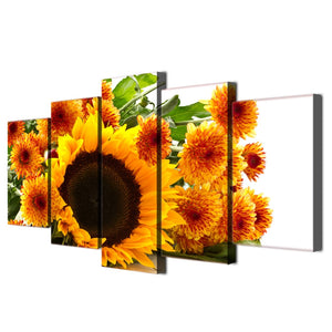 Yellow Sunflower Canvas Print 5 Pieces