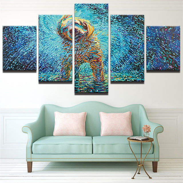 Dog Shaking Water Modern Art 5 piece Canvas Wall Art Print - Limited Edition
