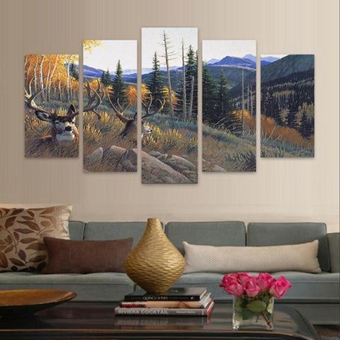 Mule Deer Bucks Bedded on a Hillside 5 piece HQ Canvas Wall Art Print - Limited Edition