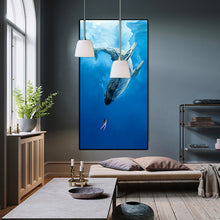 Blue Ocean Whale and Girl Canvas Print