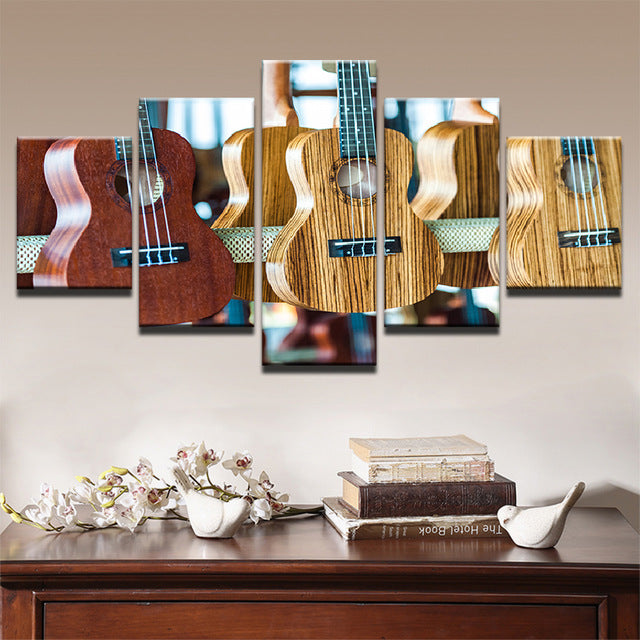 Classic Guitars Modern Art 5 piece Canvas Wall Art Print - Limited Edition